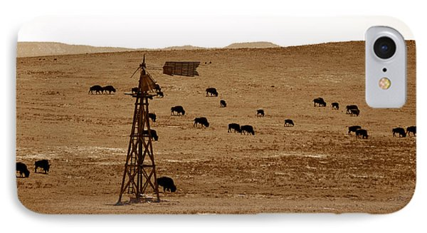 Bison And Windmill IPhone Case by David Lee Thompson