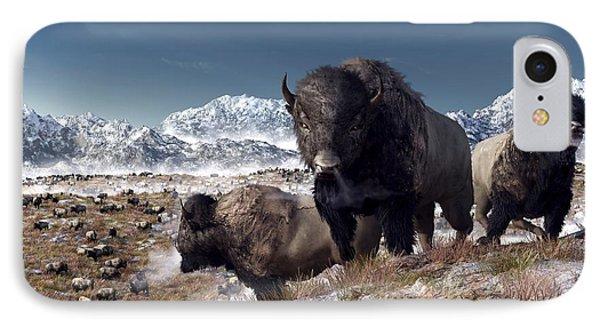 Bison Herd In Winter Phone Case by Daniel Eskridge