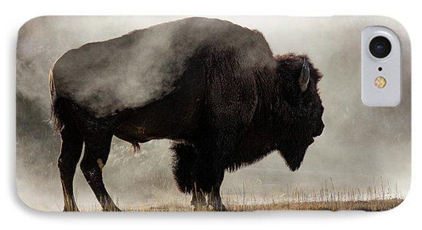 Bison In Mist, Upper Geyser Basin IPhone 7 Case