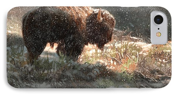Bison In The Snow IPhone Case by Aaron Blaise