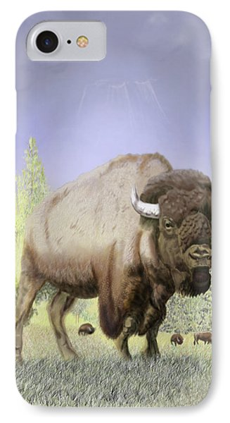 IPhone Case featuring the digital art Bison On The Range by Thomas J Herring