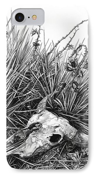 IPhone Case featuring the painting Bison Skull by Aaron Spong