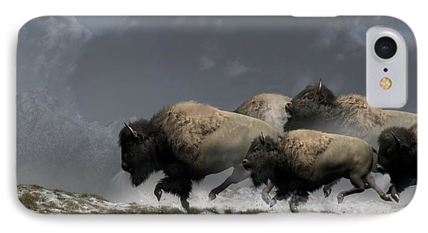 Bison Stampede IPhone Case by Daniel Eskridge