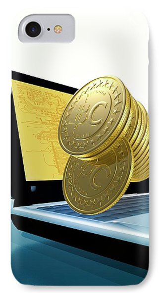 Bitcoins And A Laptop IPhone Case by Victor Habbick Visions