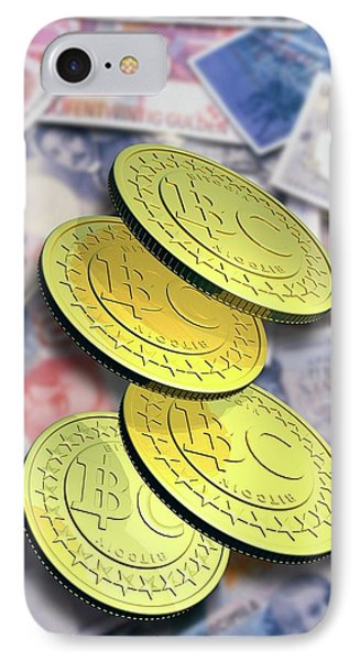 Bitcoins And Banknotes IPhone Case by Victor Habbick Visions