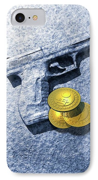 Bitcoins And Gun IPhone Case by Victor Habbick Visions