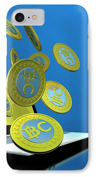 Bitcoins And Laptop IPhone Case by Victor Habbick Visions
