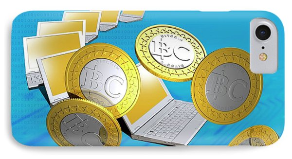Bitcoins And Laptops IPhone Case by Victor Habbick Visions