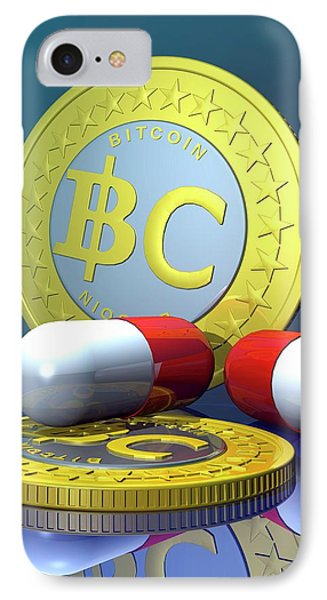 Bitcoins And Medicine IPhone Case by Victor Habbick Visions