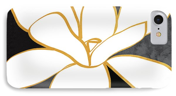 Black And Gold Magnolia- Floral Art IPhone Case by Linda Woods