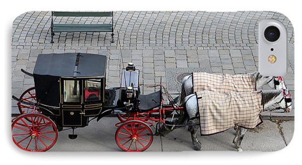 IPhone Case featuring the photograph Black And Red Horse Carriage - Vienna Austria  by Imran Ahmed