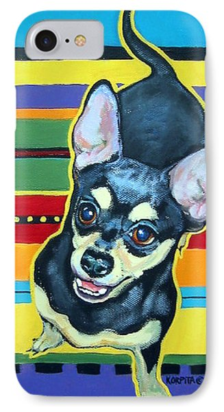 Black And Tan Chihuahua - Serape IPhone Case by Rebecca Korpita