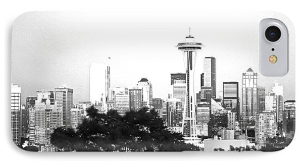 IPhone Case featuring the photograph Black And White Abstract City Photography...seattle Space Needle by Amy Giacomelli