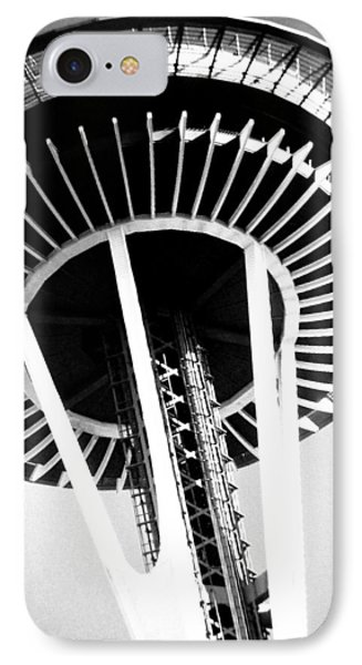 IPhone Case featuring the photograph Black And White Abstract City Photography...space Needle by Amy Giacomelli