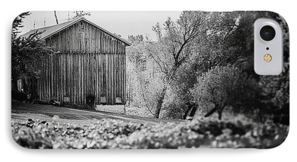Black And White Barn Landscape - In The Vineyard IPhone Case