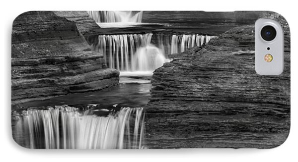 Black And White Cascade Square Phone Case by Bill Wakeley