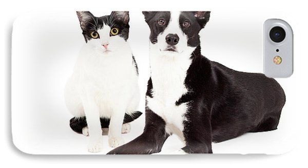 Black And White Cat And Dog IPhone Case by Susan Schmitz