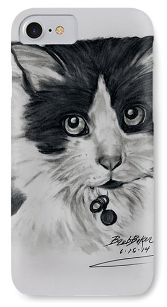 Black And White Cat IPhone Case by Barb Baker