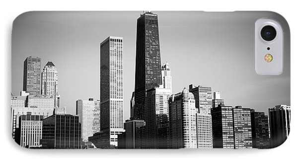 Black And White Chicago Skyline With Hancock Building IPhone Case by Paul Velgos