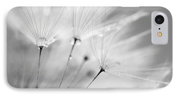 Black And White Dandelion And Water Droplets IPhone Case by Natalie Kinnear