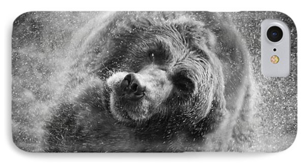 Black And White Grizzly IPhone Case by Steve McKinzie