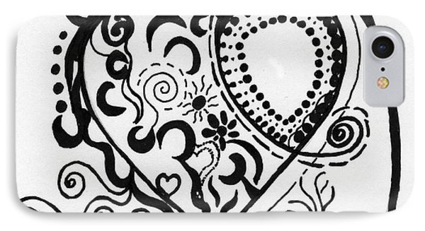 Black And White Heart IPhone Case by Christine Perry