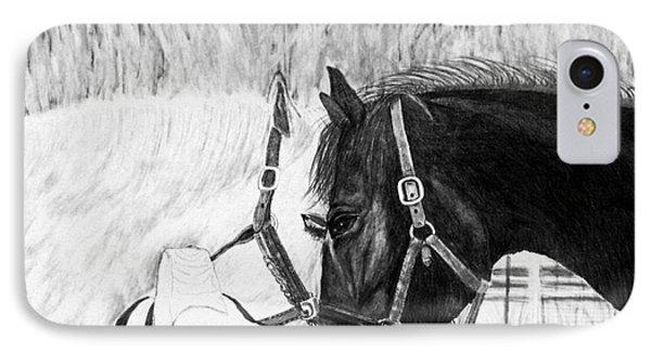 Black And White Horses Art Print IPhone Case
