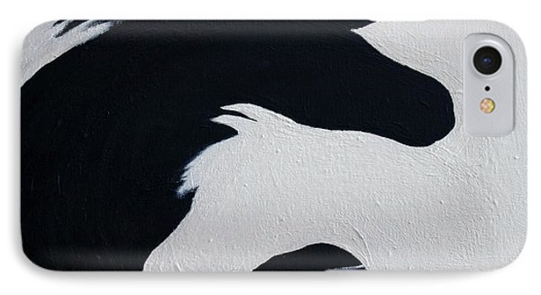 IPhone Case featuring the painting Black And White Horses Together Forever by Barbie Batson