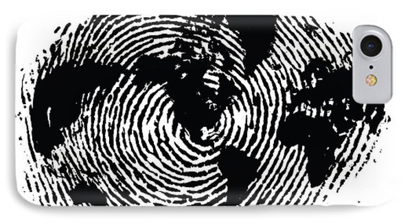 black and white ink print poster One of a Kind Global Fingerprint IPhone Case
