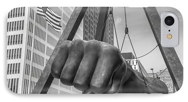Black And White Joe Louis Fist And Flag IPhone Case by John McGraw