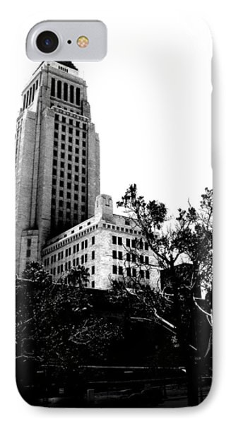 IPhone Case featuring the photograph Black And White Los Angeles Abstract City Photography...la City Hall by Amy Giacomelli