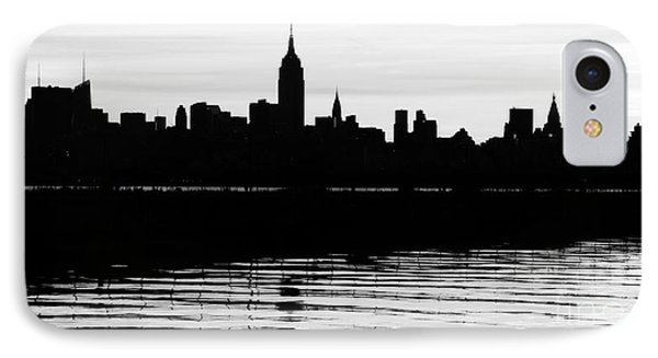 IPhone Case featuring the photograph Black And White Nyc Morning Reflections by Lilliana Mendez