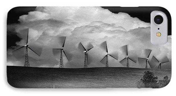 Black And White Of Wind Generators With Phone Case by Don Hammond