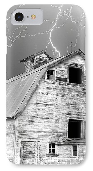 Black And White Old Barn Lightning Strikes Phone Case by James BO  Insogna