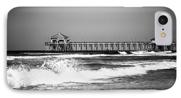 Black And White Picture Of Huntington Beach Pier IPhone Case by Paul Velgos