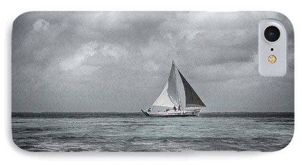Black And White Sail Boat Phone Case by Kristina Deane