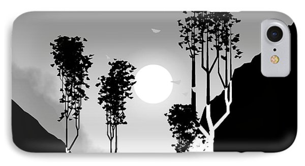 Black And White Trees Phone Case by GuoJun Pan