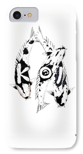 Black And White Trio Of Koi Phone Case by Gordon Lavender