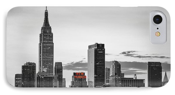 Black And White Version Of The New York City Skyline With Empire IPhone Case by Eduard Moldoveanu