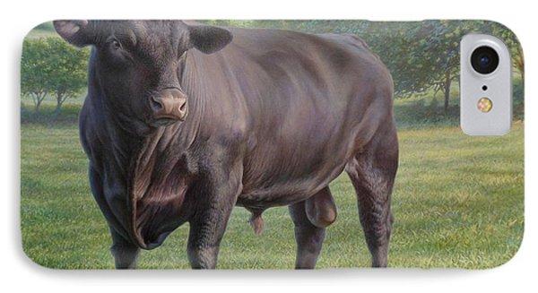 Black Angus Bull 2 IPhone Case by Hans Droog