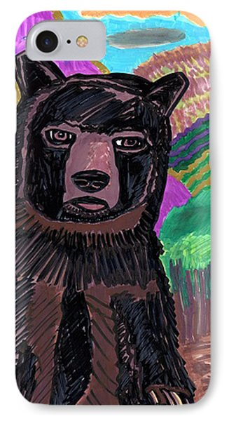 IPhone Case featuring the drawing Black Bear by Don Koester