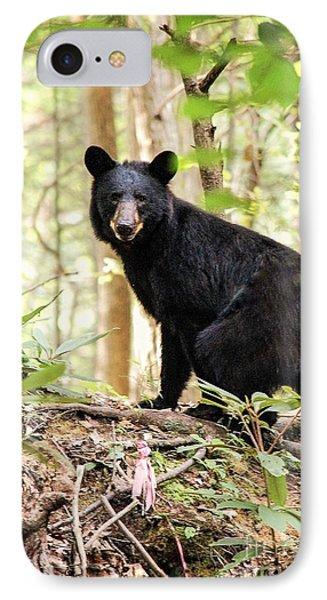 Black Bear Smile IPhone Case by Debbie Green