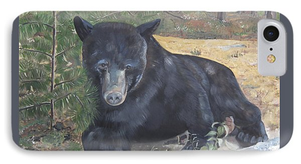 IPhone Case featuring the painting Black Bear - Wildlife Art -scruffy by Jan Dappen