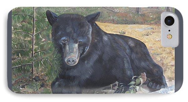 Black Bear - Wildlife Art -scruffy IPhone Case by Jan Dappen