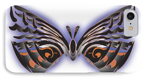 Black Blue Orange Butterfly IPhone Case by Christine Perry