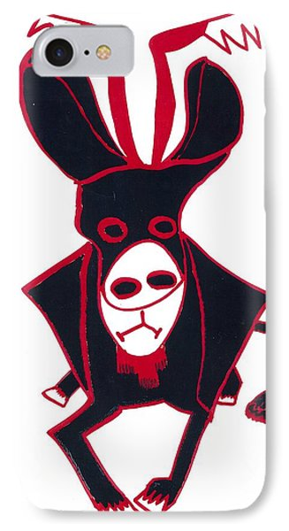 IPhone Case featuring the drawing Black Bull by Don Koester