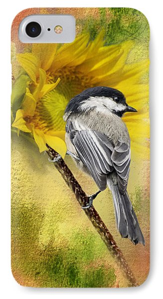 Black Capped Chickadee Checking Out The Sunflowers IPhone Case by Diane Schuster
