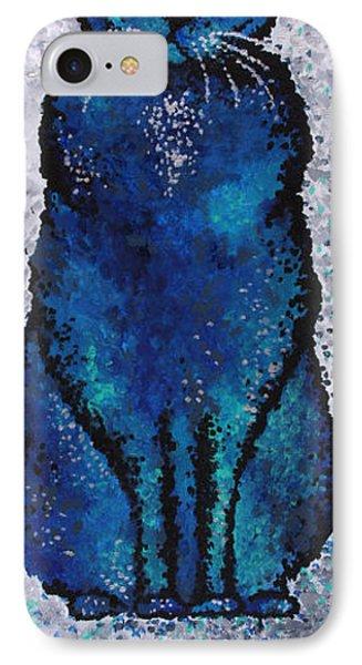 Black Cat Blue Phone Case by Michelle Boudreaux