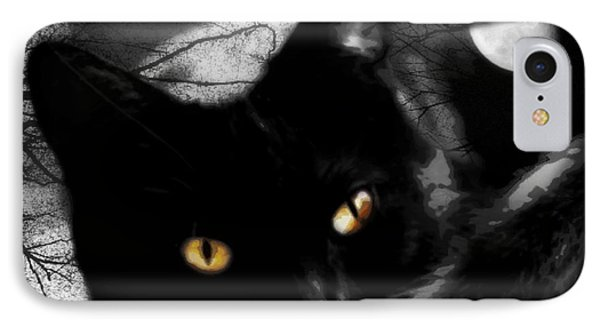 IPhone Case featuring the digital art Black Cat Golden Eye by Mindy Bench