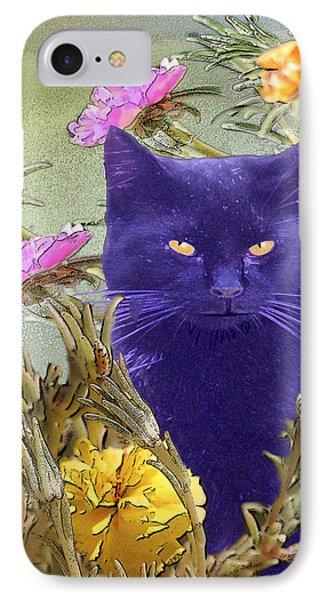 Black Cat Lurking In The Portulaca IPhone Case